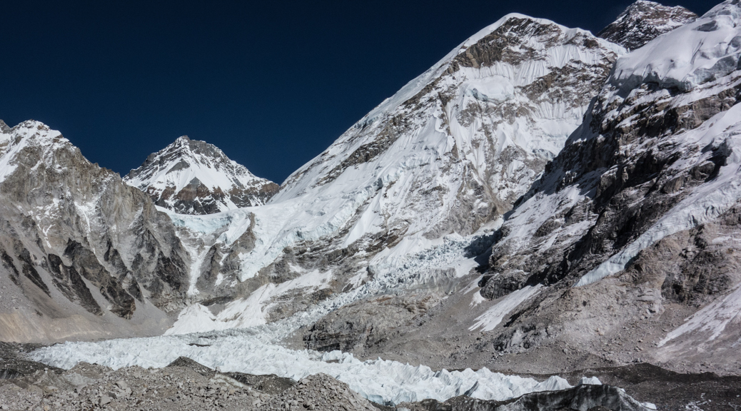 Everest Base Camp Glacier Flows as mighty river of ice off the mountain.